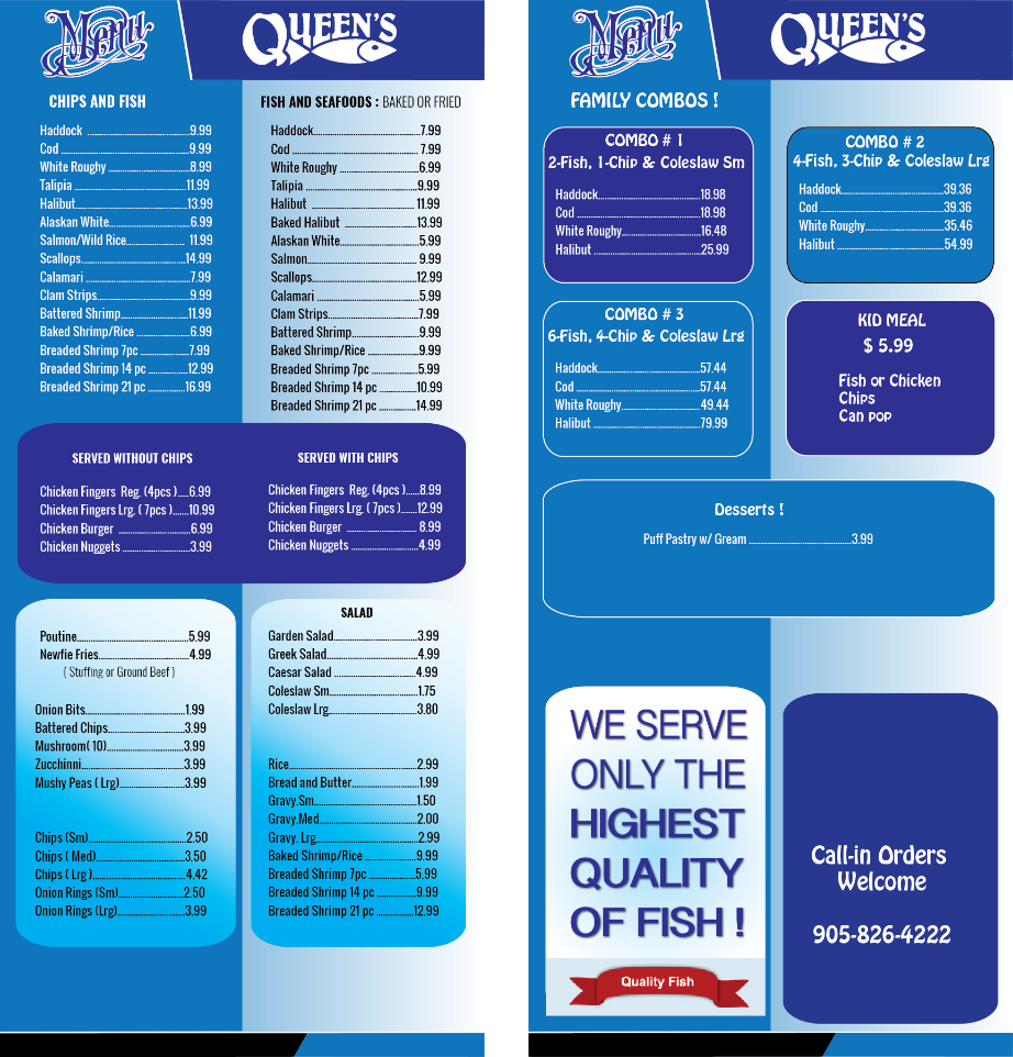 Queen 39 s fish and chips for Two fish menu